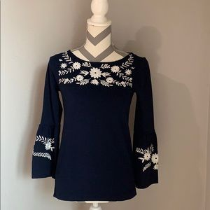 J. Crew Embroidered Bell Sleeve Blouse